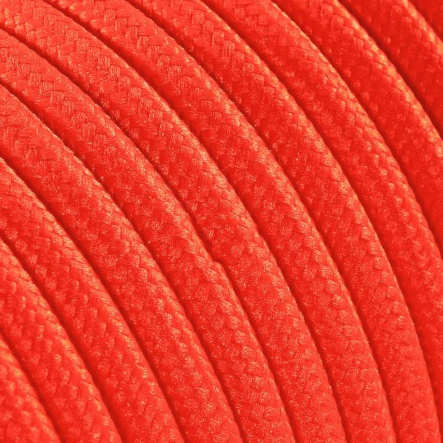 Strijkijzersnoer Fluor oranje - rond, effen stof