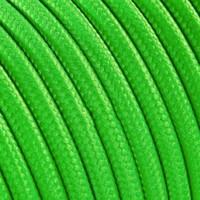 Strijkijzersnoer Fluor groen - rond, effen stof
