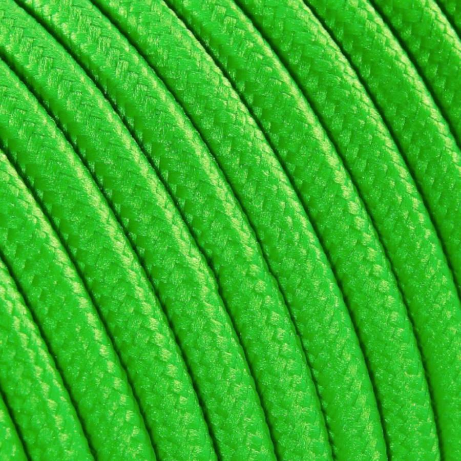 Strijkijzersnoer Fluor groen - rond, effen stof-2