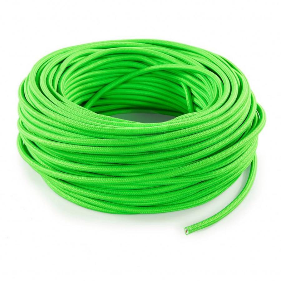 Strijkijzersnoer Fluor groen - rond, effen stof-3