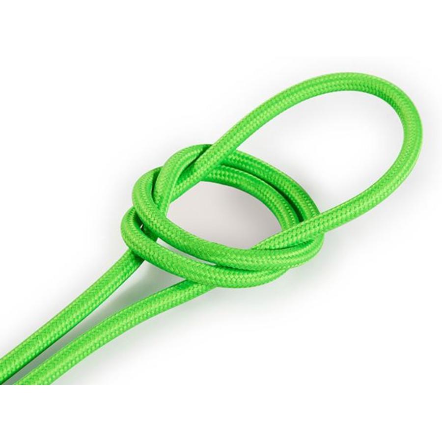 Strijkijzersnoer Fluor groen - rond, effen stof-1