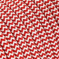 thumb-Fabric Cord White & Red - round, solid-2