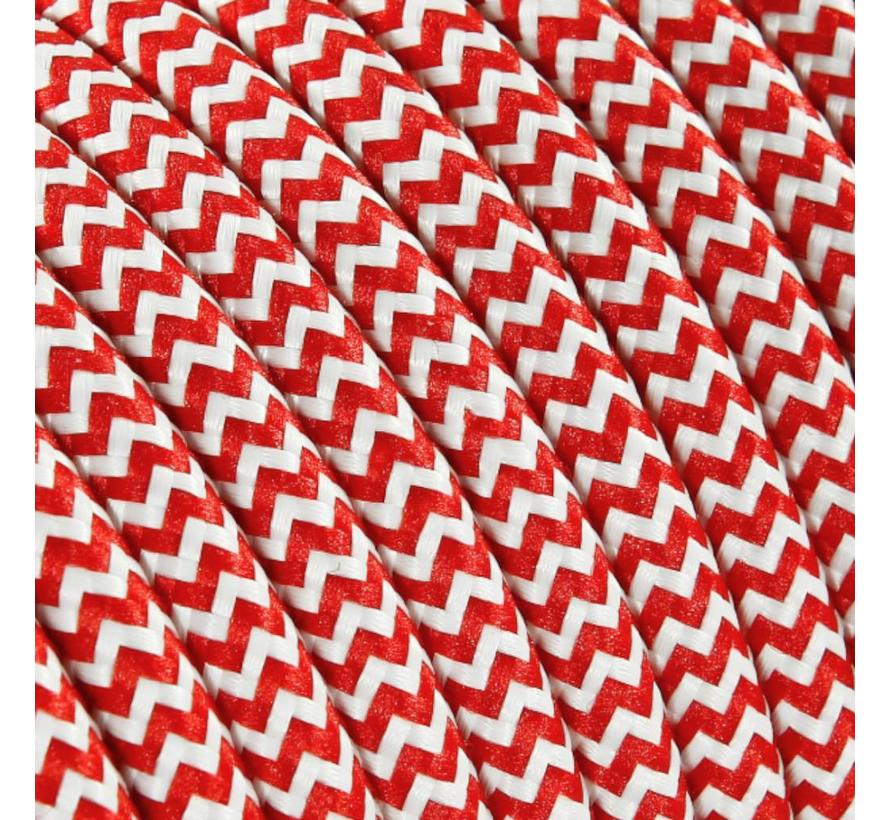 Fabric Cord White & Red - round, solid