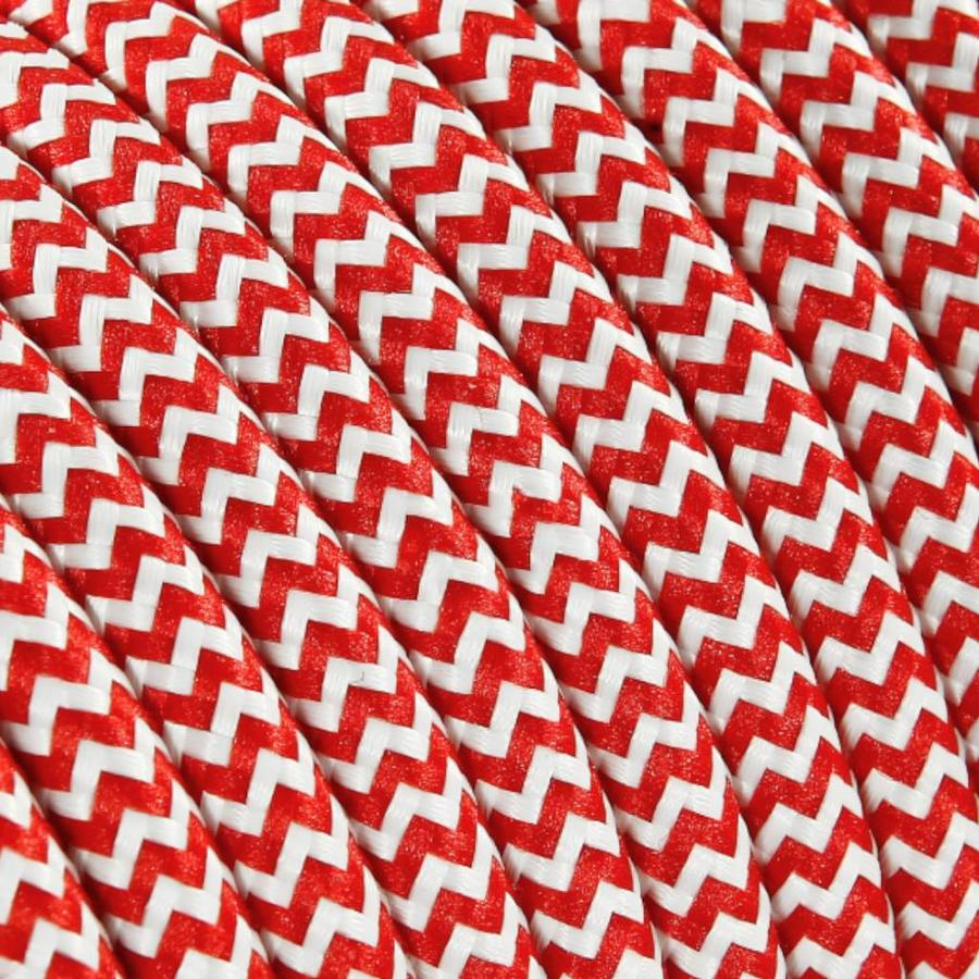Fabric Cord White & Red - round, solid-2