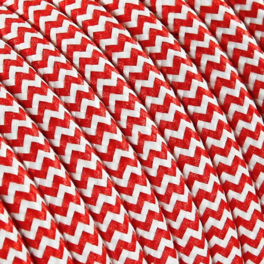 Strijkijzersnoer Wit & Rood - rond, effen stof