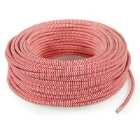 thumb-Fabric Cord White & Red - round, solid-3