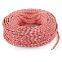 Strijkijzersnoer Rood & Wit - rond, effen stof