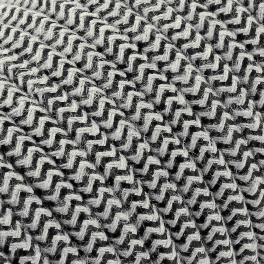 Strijkijzersnoer Zand & Zwart - rond, linnen