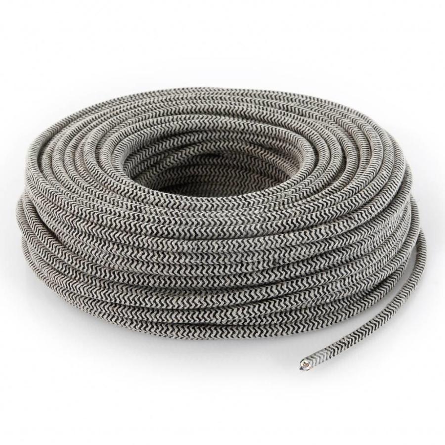 Fabric Cord Sand & Black - round, linen-3