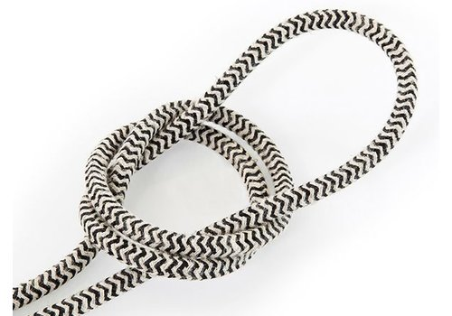 Fabric Cord Sand & Black - round, linen