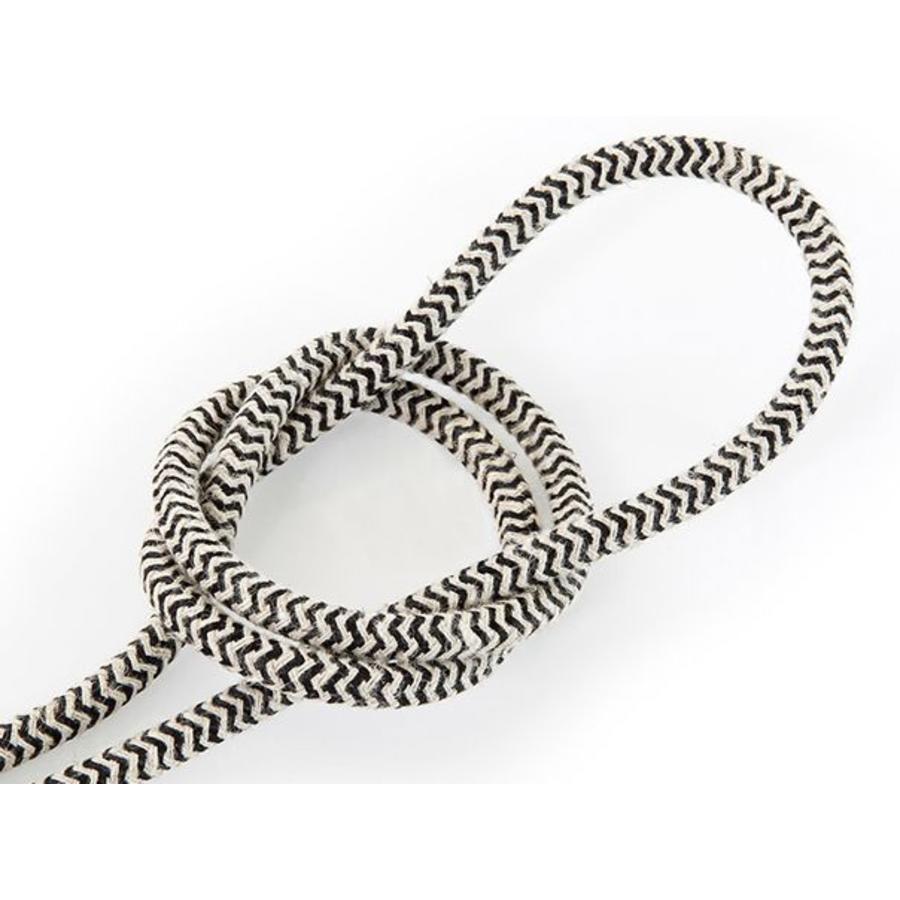 Fabric Cord Sand & Black - round, linen-1