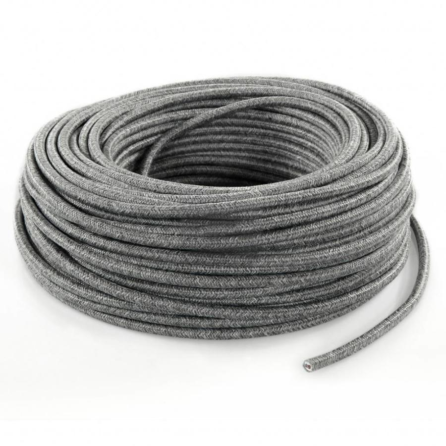 Fabric Cord Mixed Grey - round, linen