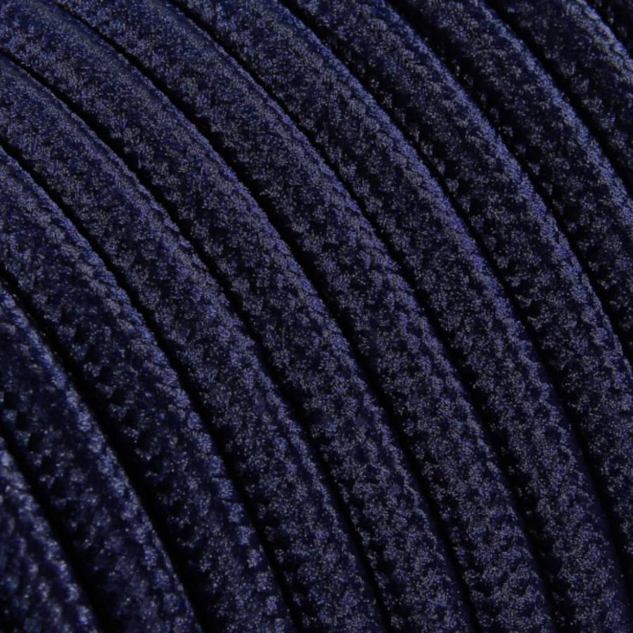 Strijkijzersnoer Donkerblauw - rond, effen stof-2