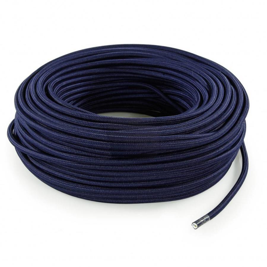 Strijkijzersnoer Donkerblauw - rond, effen stof-3