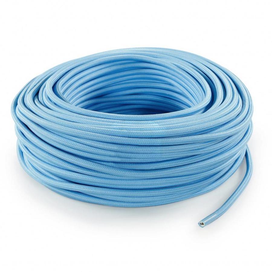 Strijkijzersnoer Lichtblauw - rond, effen stof