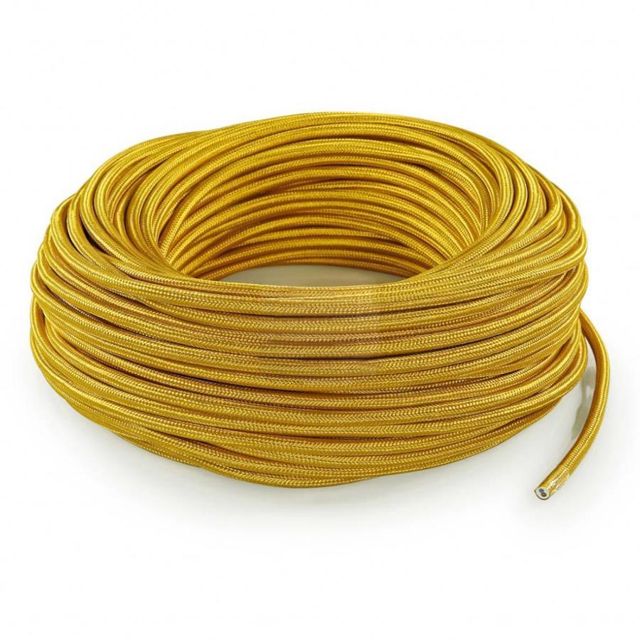 Strijkijzersnoer Goud - rond, effen stof-3