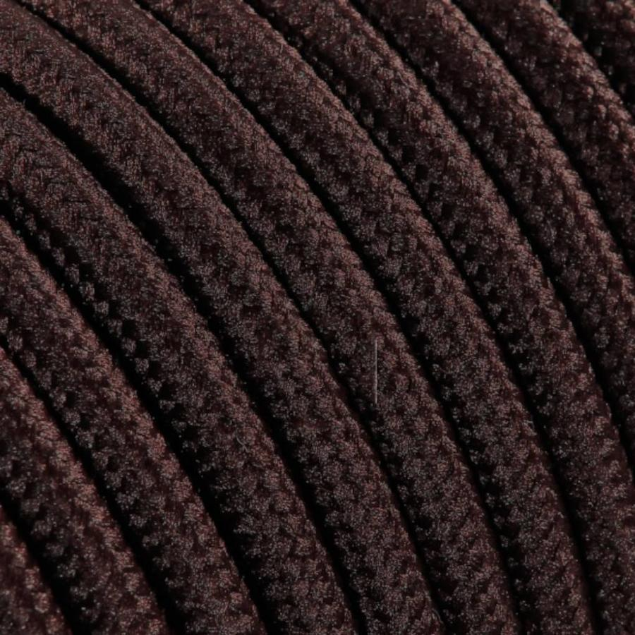 Strijkijzersnoer Bruin - rond, effen stof-2
