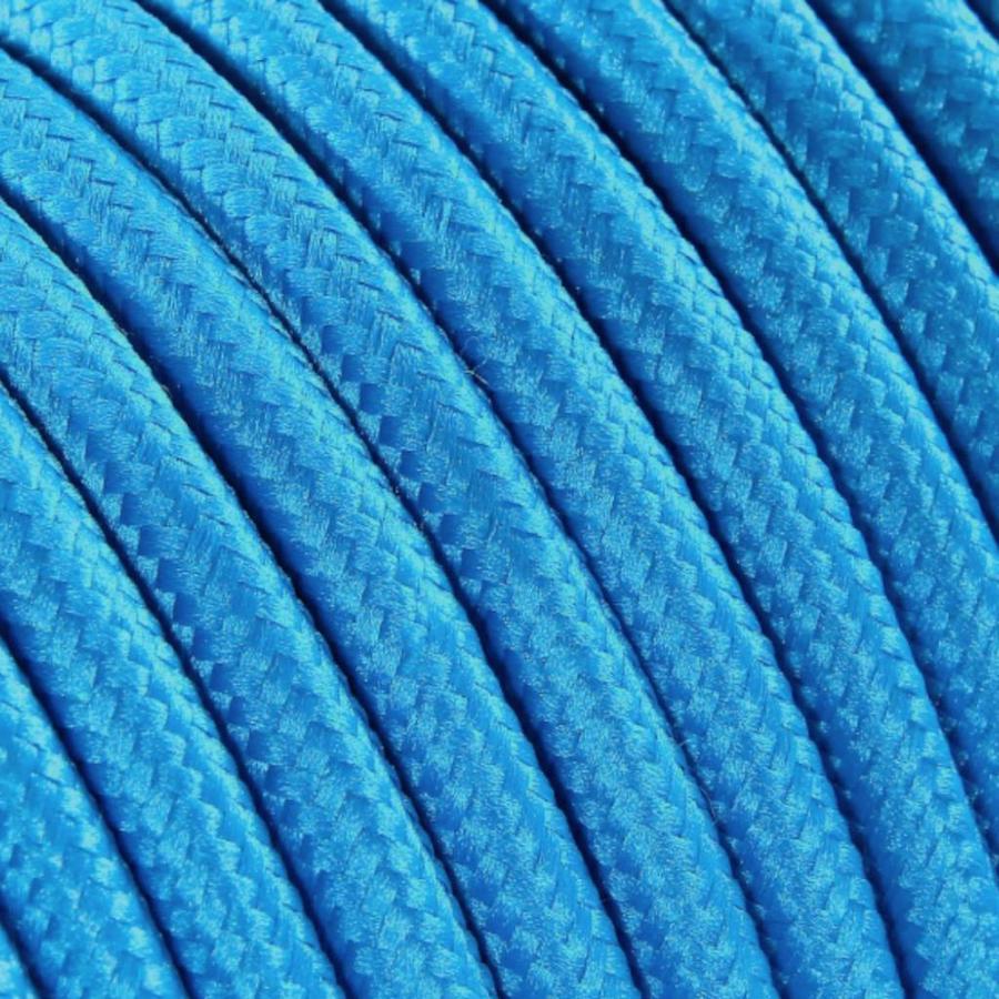 Strijkijzersnoer Felblauw - rond, effen stof