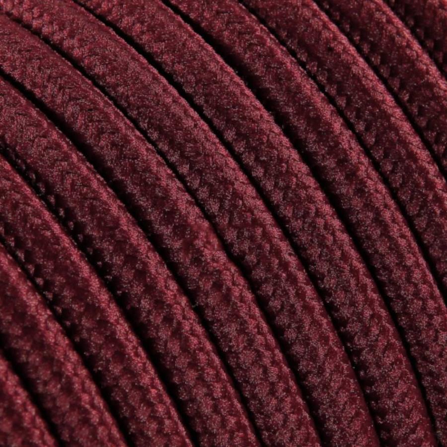 Strijkijzersnoer Bordeaux rood - rond, effen