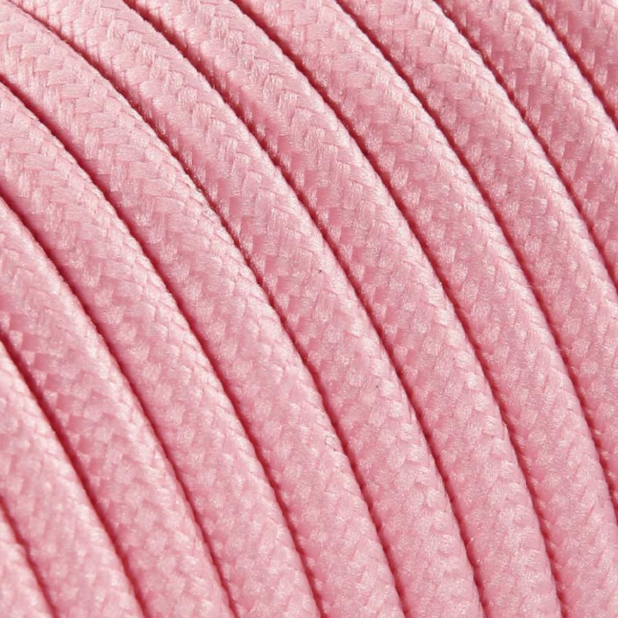 Strijkijzersnoer Lichtroze - rond, effen stof-2