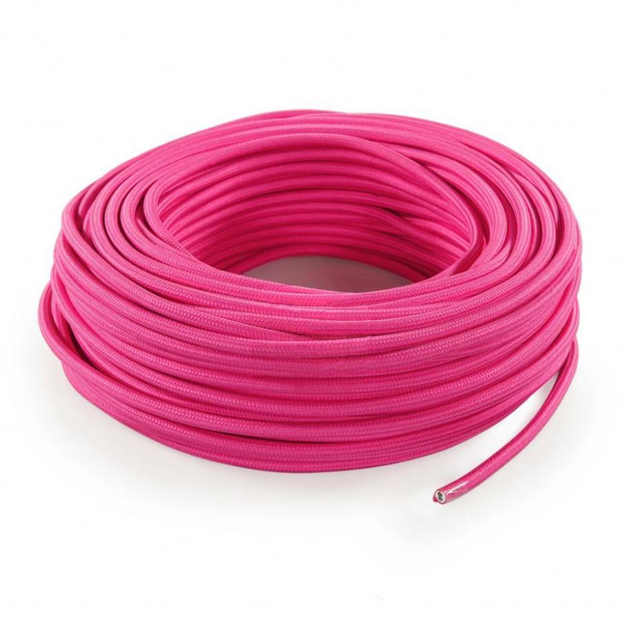 Strijkijzersnoer Roze - rond, effen stof