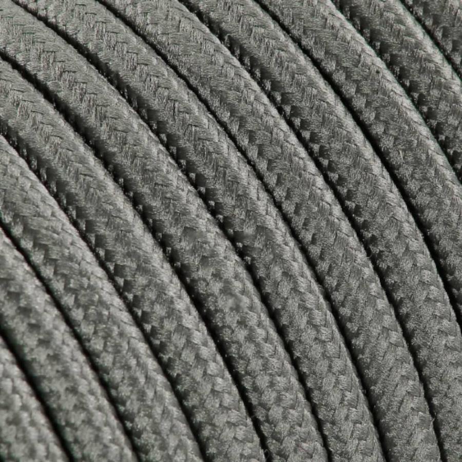 Strijkijzersnoer Grijs - rond, effen stof