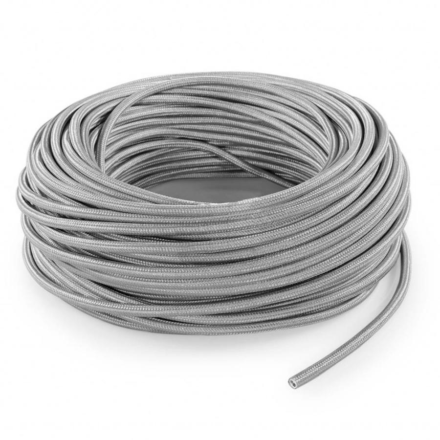 Strijkijzersnoer Zilver - rond, effen stof-3