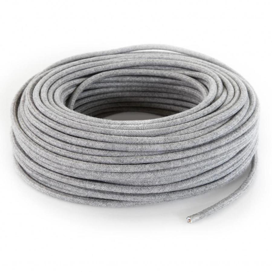 Fabric Cord Grey - round, linen-3