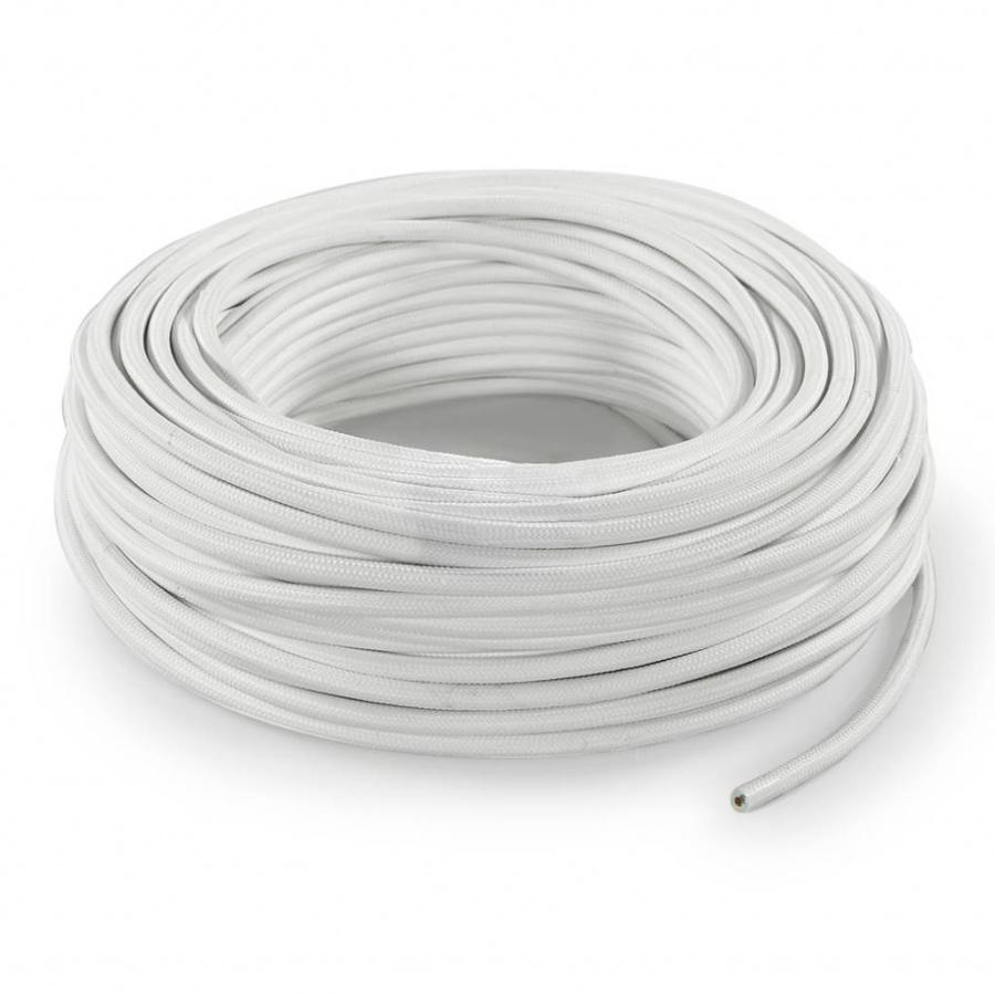 Strijkijzersnoer Wit - rond, effen stof-3