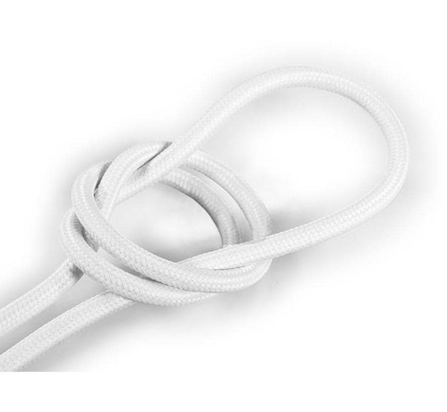 Strijkijzersnoer Wit - rond, effen stof