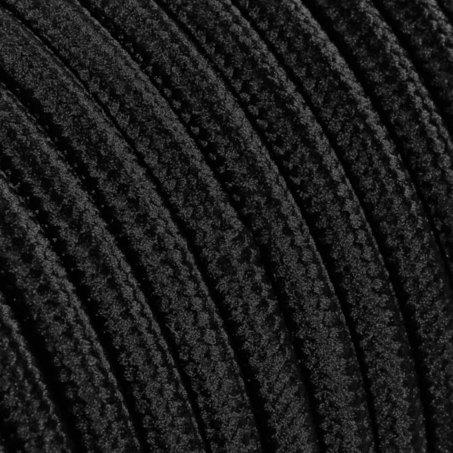Strijkijzersnoer Zwart - rond, effen stof