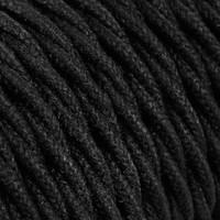 Strijkijzersnoer Zwart - gedraaid, linnen