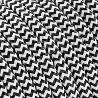 Fabric Cord White & Black - round, solid