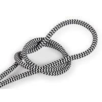 Strijkijzersnoer Wit & Zwart - rond, effen stof