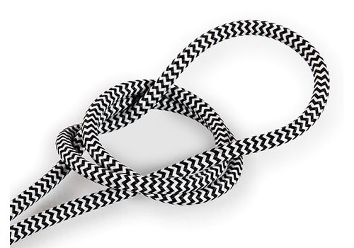 Fabric Cord White & Black - round, solid