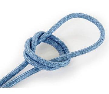 Kynda Light Fabric Cord Greyish Blue - round, linen