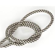 Kynda Light Fabric Cord Black & Sand - round, linen