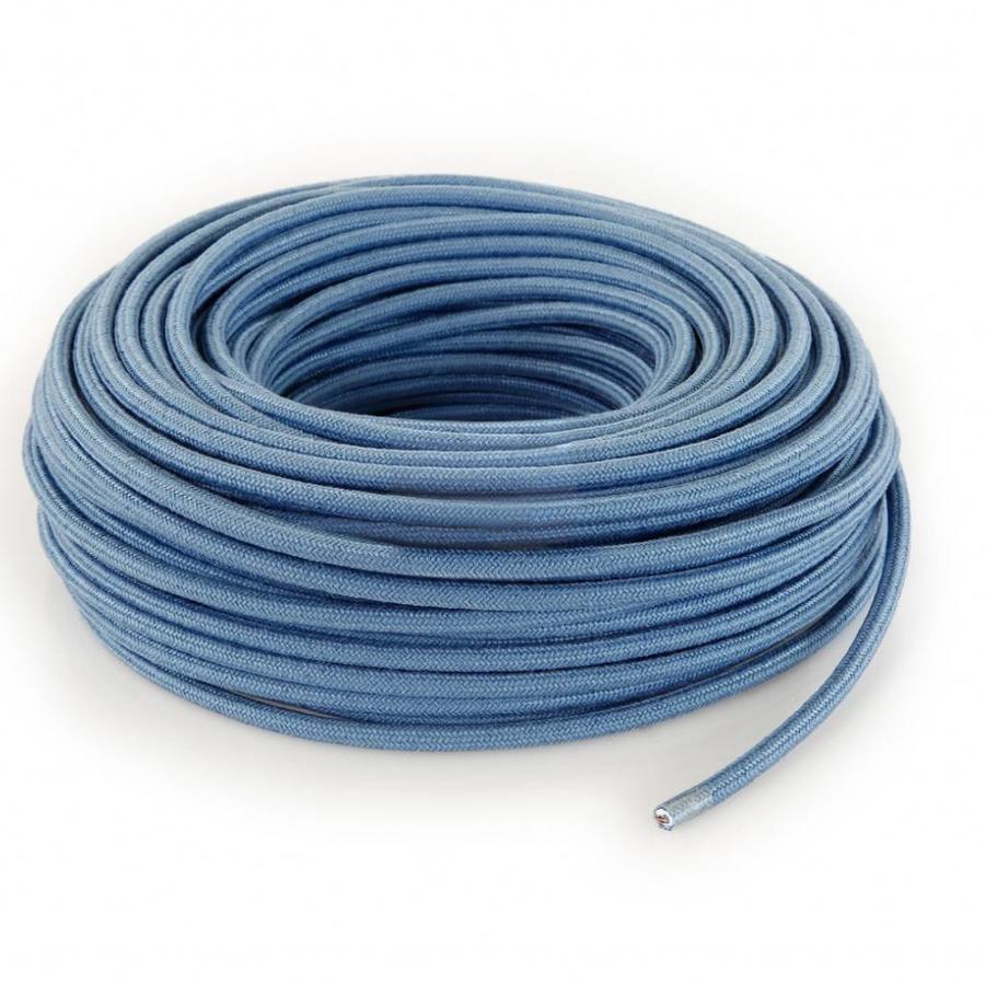 Fabric Cord Light Blue - round, linen