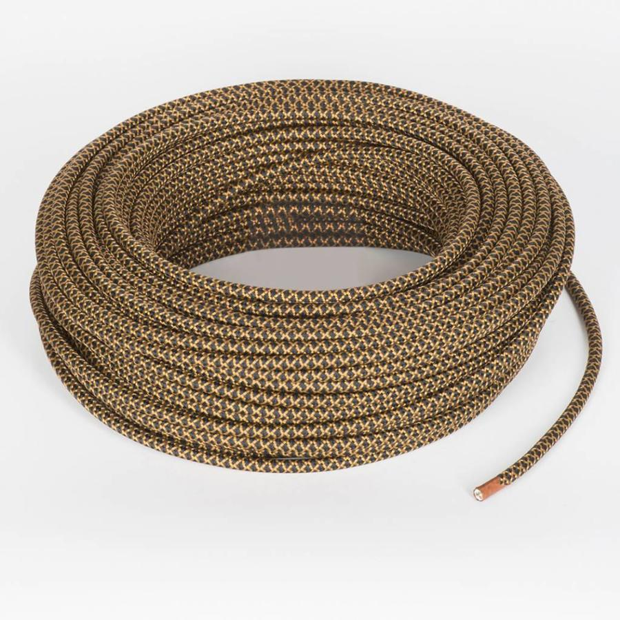 Fabric Cord Black & Whiskey - round, solid