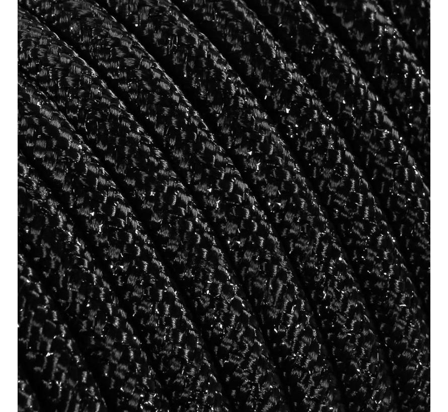 Strijkijzersnoer Zwart (glitter) - rond, effen stof