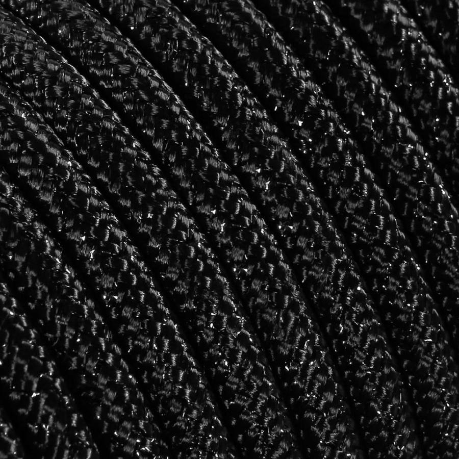Strijkijzersnoer Zwart (glitter) - rond, effen stof-2