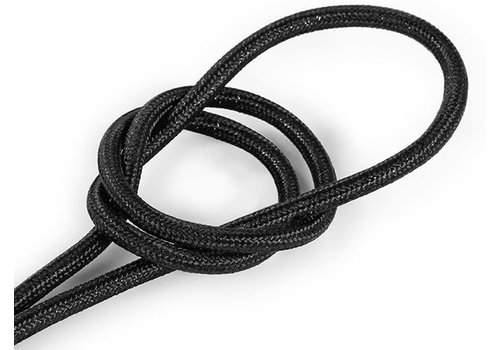Fabric Cord Black (glitter) - round, solid