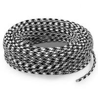 Fabric Cord Black & White - round, solid