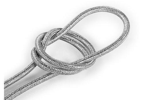 Strijkijzersnoer Zilver (glitter) - rond, effen stof