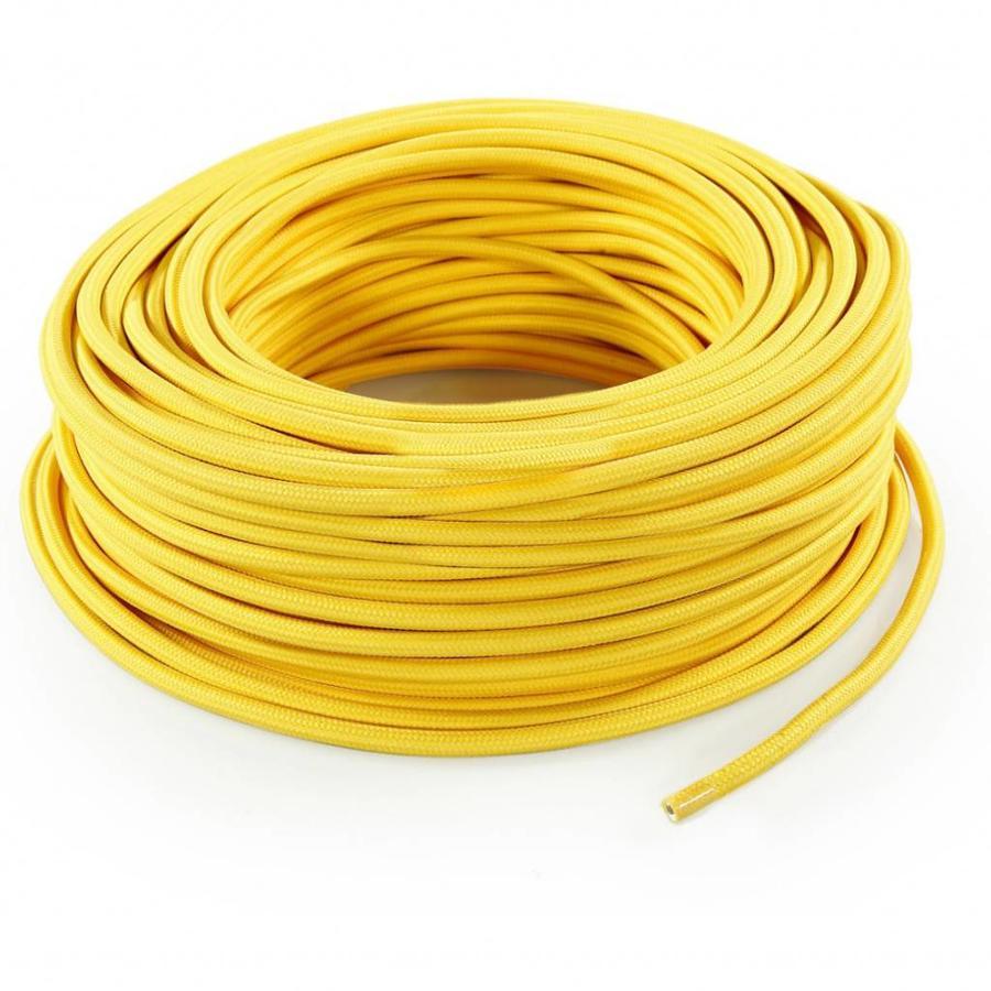 Strijkijzersnoer Geel - rond, effen stof-3