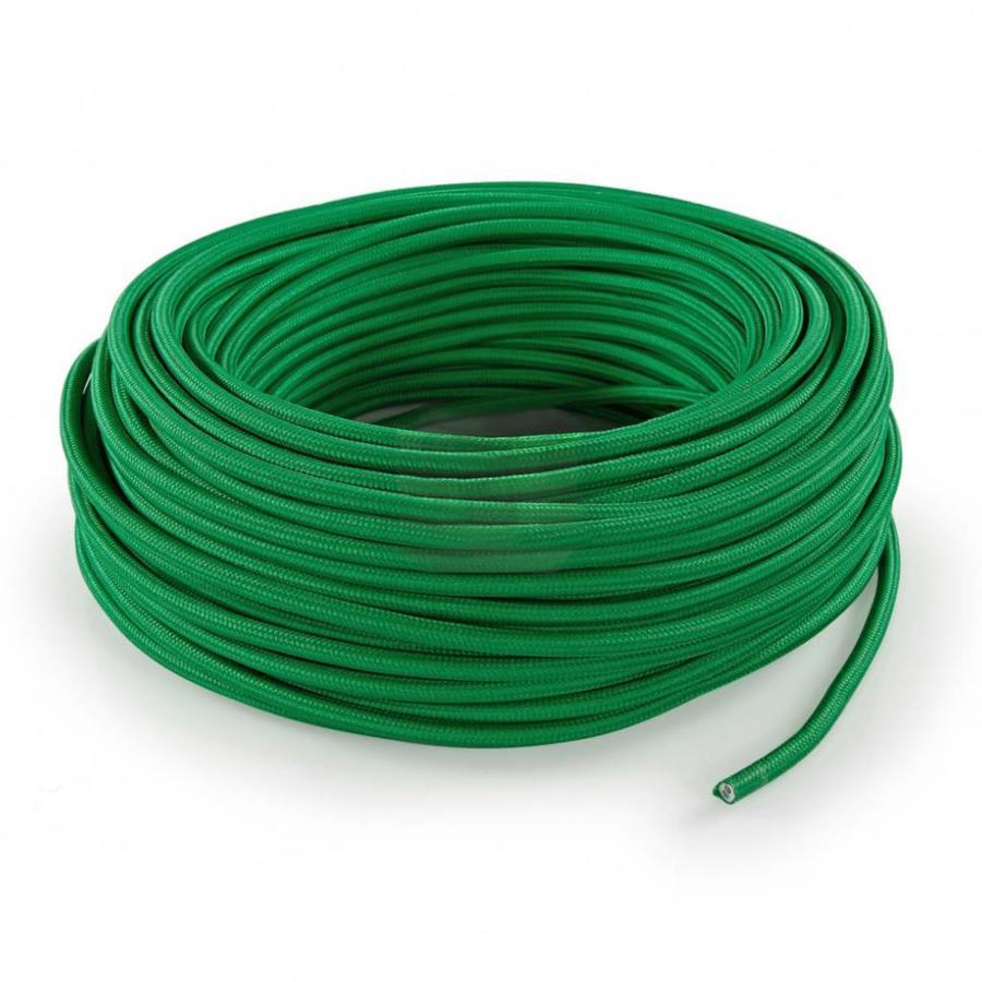 Strijkijzersnoer Groen - rond, effen stof