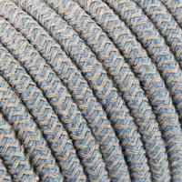 Strijkijzersnoer Zand & Blauw - rond, linnen