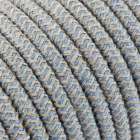 Fabric Cord Sand & Blue - round, linen