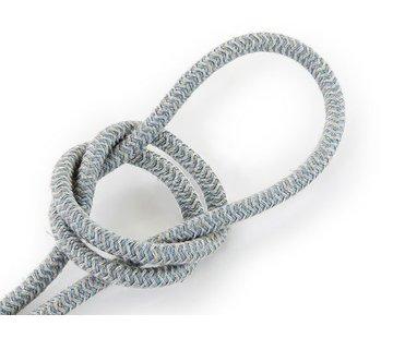 Kynda Light Fabric Cord Sand & Blue - round, linen