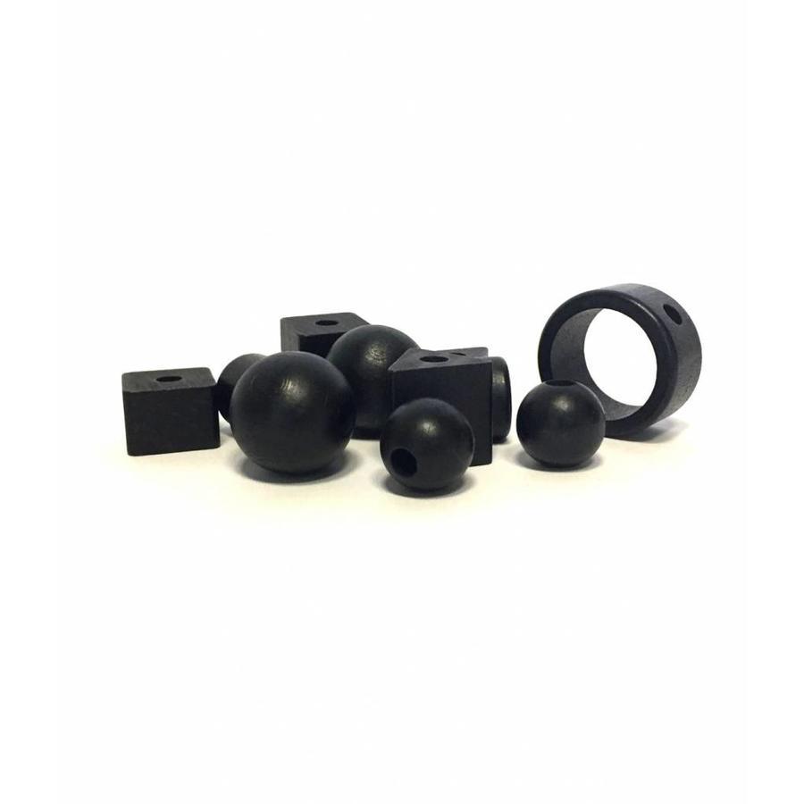 Kraal hout zwart cilinder klein-3